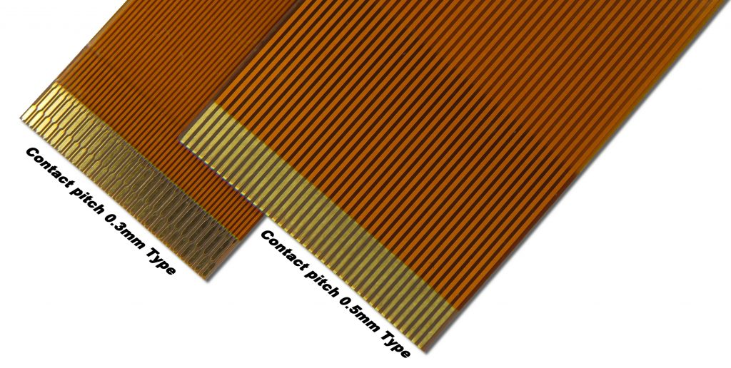 既製品フレキケーブル(FPCケーブル)の0.3mm,0.5mm写真
